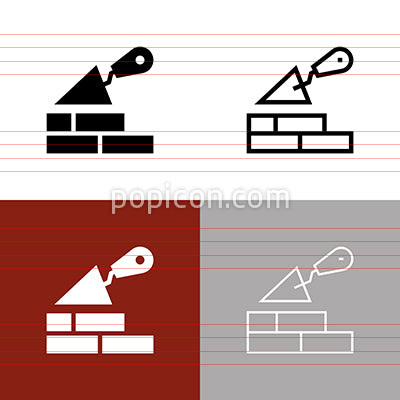 Concrete Trowel Brick Wall Icon Set