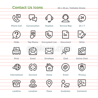 Contact Us Communication Icons - Outline