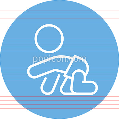 Crawling Baby Wearing Diapers Outline Icon