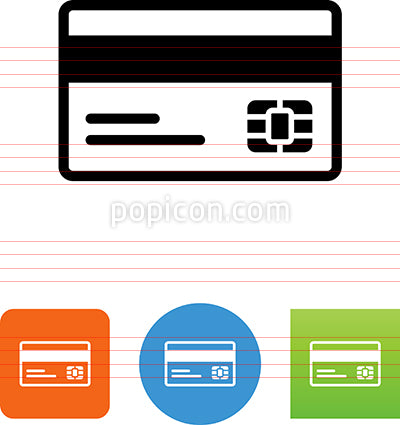 Credit Card With Magnetic Strip And Chip Icon
