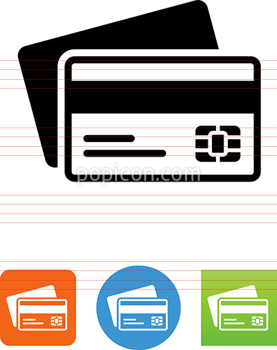 Credit Cards With Magnetic Strip Up Icon