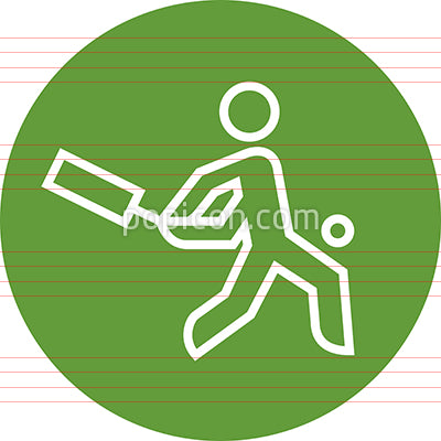 Cricket Player With Bat And Ball Outline Icon