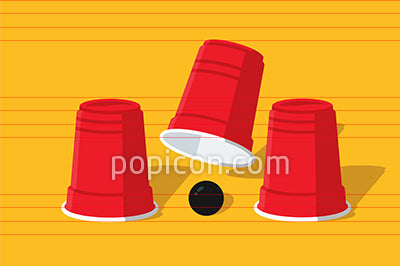 Cup And Ball Shell Game Illustration