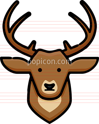 Deer Head Hand Drawn Icon