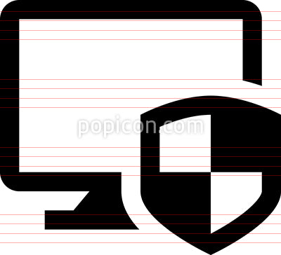 Desktop Computer Security Shield Vector Icon