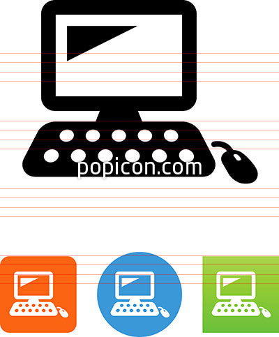 Desktop Computer With Keyboard And Mouse Icon Popicon