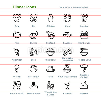 Dinner Icons - Outline