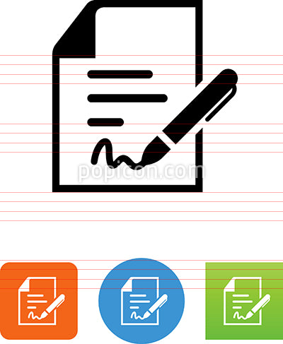 Document With Pen And Signature Icon