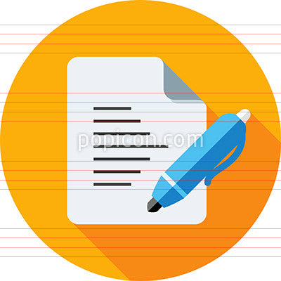 Document With Pen Icon On Background - Flat Color Series