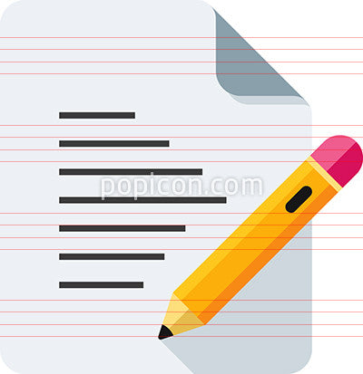 Document With Pencil And Text Icon