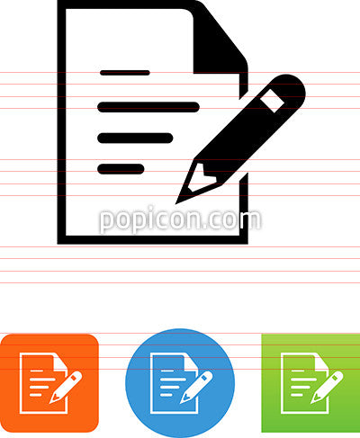 Document With Pencil And Writing Icon