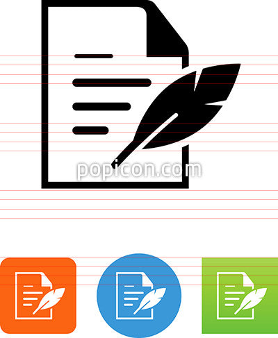 Document With Quill Pen Icon