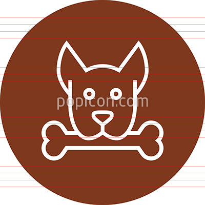 Dog With Bone In Mouth Outline Icon