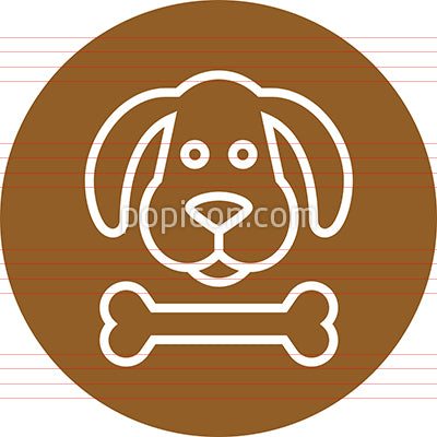 Dog's Head With Bone Outline Icon