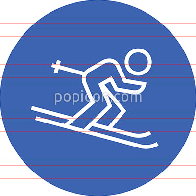 Downhill Ski Racer Outline Icon