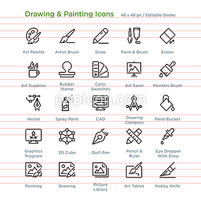Drawing And Painting Icons - Outline