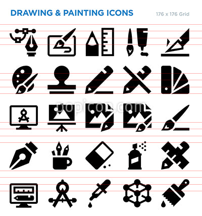 Drawing And Painting Vector Icon Set
