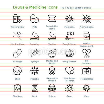 Drugs And Medicine Icons - Outline