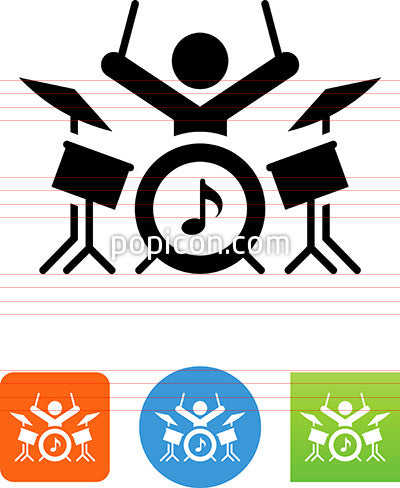Drummer Holding Up Drumsticks Icon