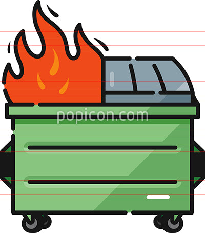 Dumpster Fire Fail Filled Outline Icon