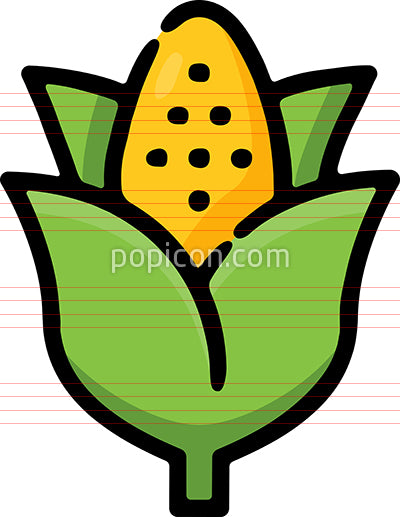 Ear Of Corn Hand Drawn Icon