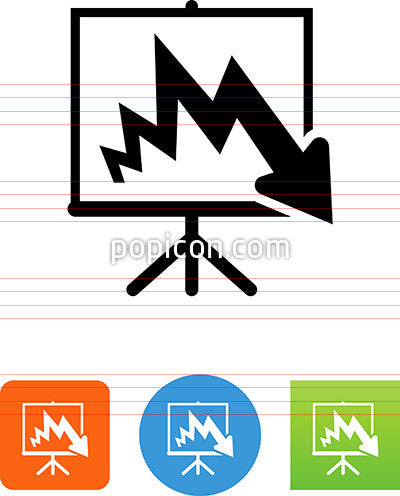 Easel With Downwards Arrow Icon
