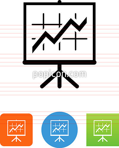 Easel With Line Graph Icon