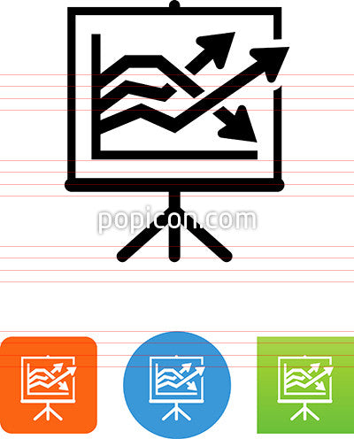 Easel With Three Arrows Icon