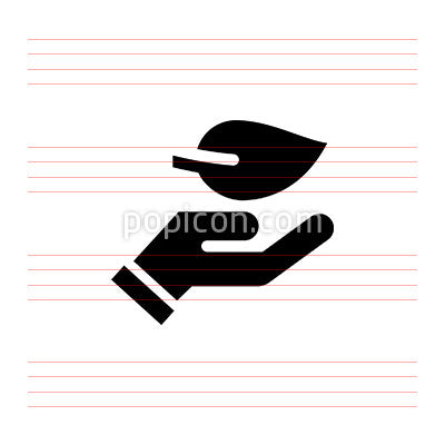 Hand holding a leaf vector icon