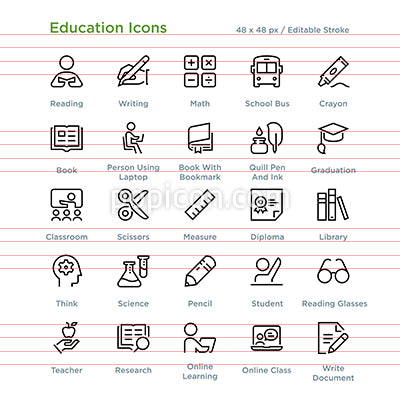 Education Icons - Outline