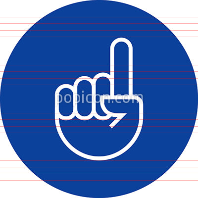 Extended Index Finger Number One Gesture Outline Icon