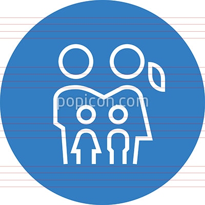 Family With Two Kids Outline Icon