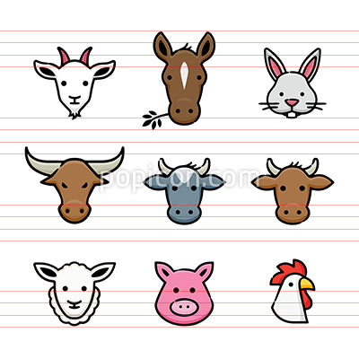 Farm Animals Vector Icon Set