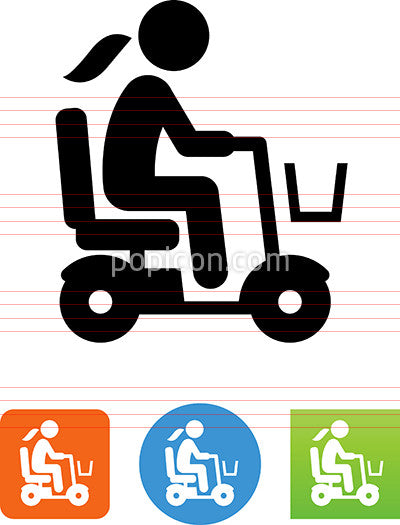 Female Senior Citizen Riding Mobility Scooter Icon