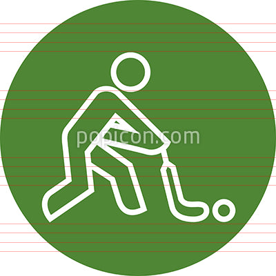 Field Hockey Player With Stick And Ball Outline Icon