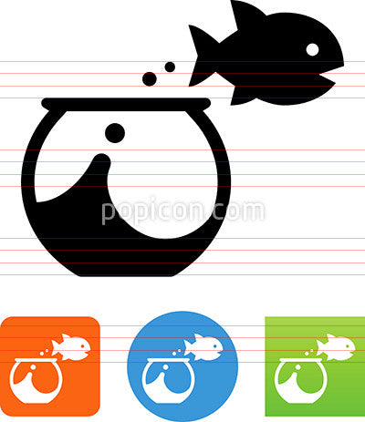Fish Jumping From Bowl Icon