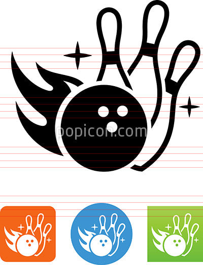 Flaming Bowling Ball Hitting Pins Icon