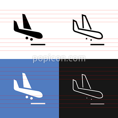 Flight Arrival Icon Set