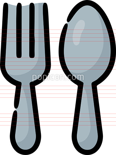 Fork Spoon Hand Drawn Icon