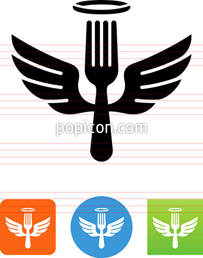 Fork With Halo And Wings Icon