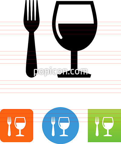 Fork and Wine Glass Icon