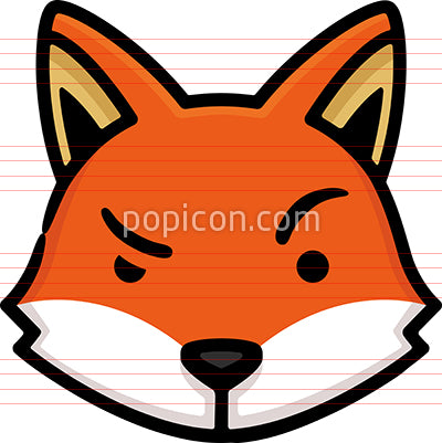 Fox Head Hand Drawn Icon