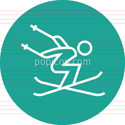 Freestyle Skier Performing Aerial Trick Outline Icon