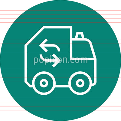 Garbage Recycling Truck Outline Icon