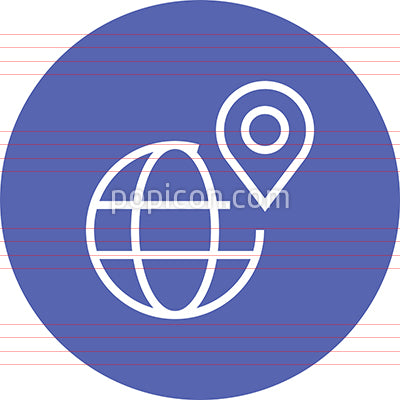 Geolocation Globe Pin GPS Outline Icon