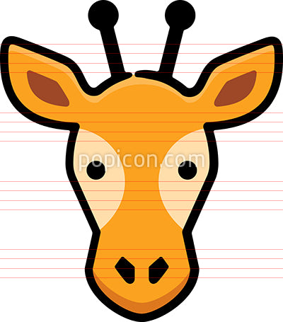 Giraffe Head Hand Drawn Icon