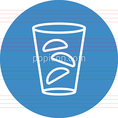 Glass Of Crescent Ice Cubes Outline Icon