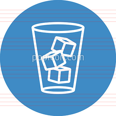 Glass Of Ice Cubes Outline Icon