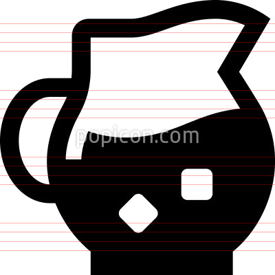 Glass Pitcher With Ice Vector Icon