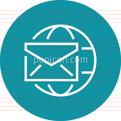 Globe Email Envelope Outline Icon